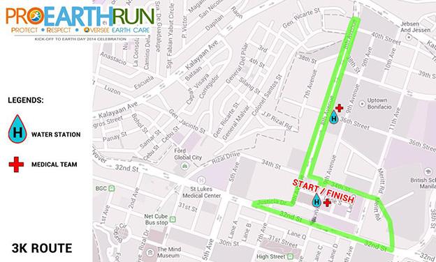 Pro Earth Run 3k Route