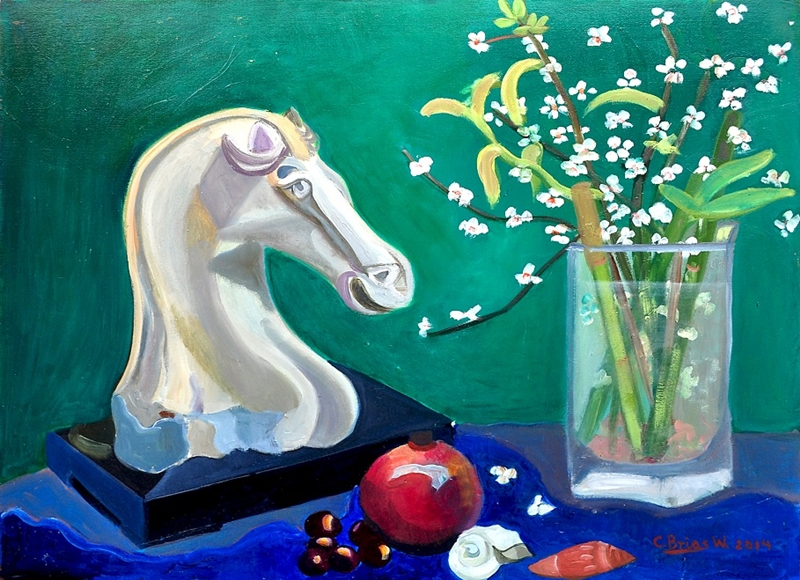 Chinese marble horse still life, oil on wood, dated 2014.